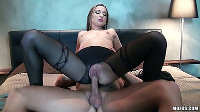 Ripped pantyhose reverse cowgirl small tits sex with Celine Doll