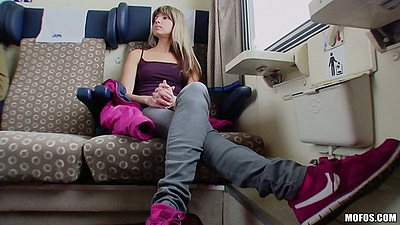 Teen pick up on public train with Gina Gerson stripping down in a moving train
