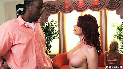 Big tits white milf Sarah Blake goes in for interracial pussy licking