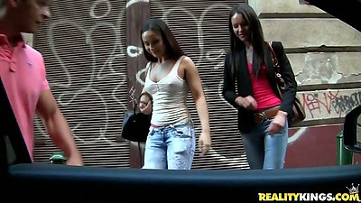 Outdoor lesbian girls Nataly Gold and Aurelly Rebel pop into the car