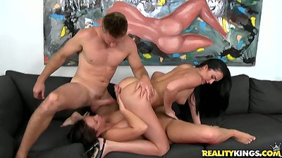 Delicious milf lesbian doing 69 and threesome cock fucking them