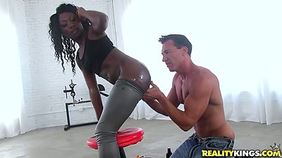 Getting black chick Vicky Vice all oily and sticky