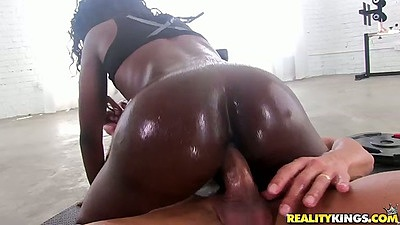 Cowgirl oiled up ass fuck with natural boobs black girl Vicky Vice