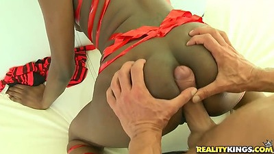 Squeezing cock between perfect black ass cheeks with Faith Love and sucking balls while blowjob