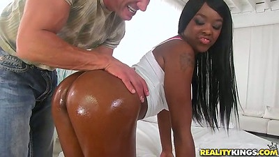 Nice oily and shiny black ass chick makes out with guy Christie Sweet