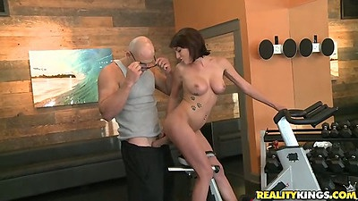 Gym medium tits bike threesome fuck and some standing work out action