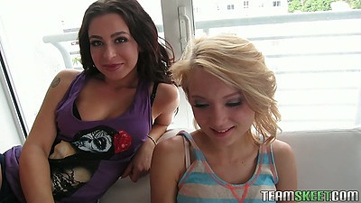 Blonde and brunette Adriana Lynn with brunette going for pov fellatio