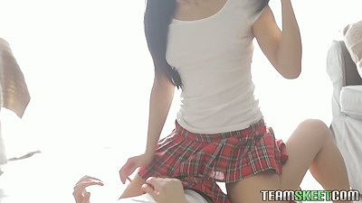 Miniskirt school girl 18 year old girl Fantina and Betty lesbians while guy watches