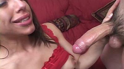 Latina Eva E sucking dick and fucked from the front