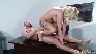 Reverse cowgirl office table fuck with Jessica Nyx