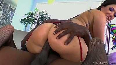 Asian interracial riding anal cock with oil on ass from London Keyes
