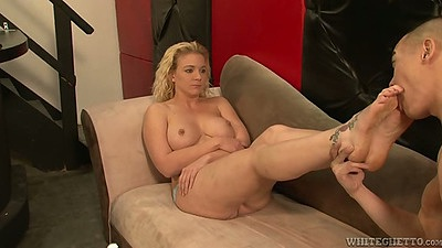 Feet licking and blowjob from armpit worship scene Heidi Mayne