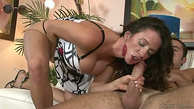 Latina Ariella Ferrera cowgirl and blowjob with sexy dress