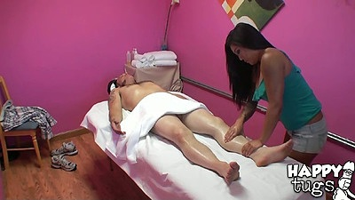 Oil lube massage with asian Mey Li in cfnm private room
