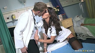 Doctor handjob with Ava Koxxx and from behind fuck