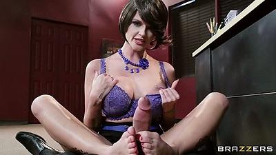 Footjob pov from milf in her bra Joslyn James