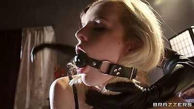 Fetish femdom mouth gag hardcore mean fuck from lesbians Krissy Lynn and Catie Parker