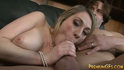 Amber Ashlee blowjob and sideways fuck with rough group gang bang