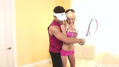 Athletic squash playing college blonde Morgan Layne puts oil on tits