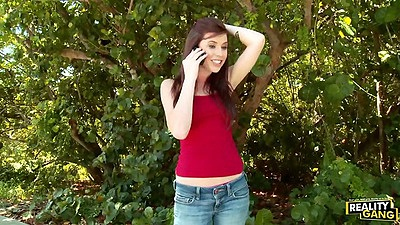 Annie Hall redhead outdoors in public picked up and driven to fuck