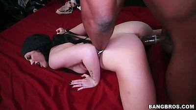 Black dick fucking tight white slut pussy Andy Sandimas