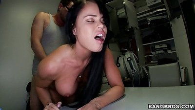 Nikki Delano standing fuck over a table and chair cowgirl humping