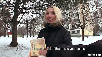 Blonde chick amateur Mina was walking home when approached in public to do some sex for money