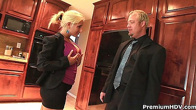 Seductive assistant Sammie Spades fingered upskirt in her business clothes