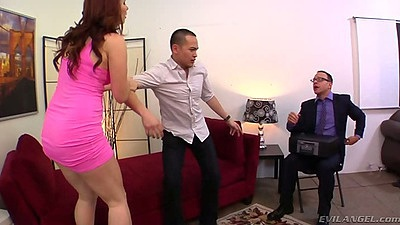 Redhead group office fuck with cuckold Melody Jordan