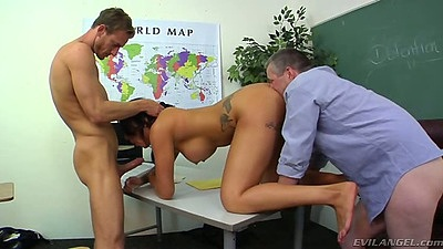 Pussy licking Austin Lynn in cuckold classroom action and rimjob