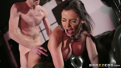 Hardcore fast pumping brunette Aletta Ocean and legs spread fuck on chair