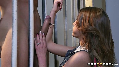Prison cfnm teen blowjob and licking balls then gets naked August Ames