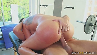 Massage oil cowgirl sex and penetration with Rilynn Rae