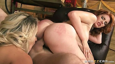 Cowgirl sex with redhead adn blonde Lilith Lust and Sienna Day in 2 on 1 sex