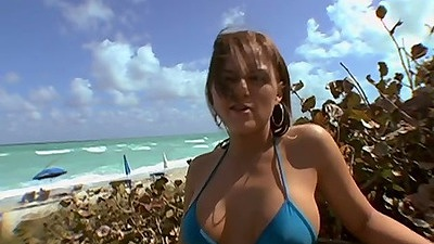Nice bikini slut looking crazy at the beach with Skyy Cherry