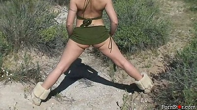 Outdoor solo posing and playing with self Brooke Haven wearing no underwear