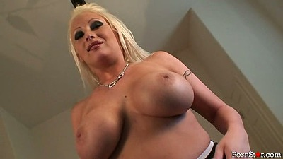 Big tits and blowjob pov from saucy Candy Manson with a titty fuck bouncing