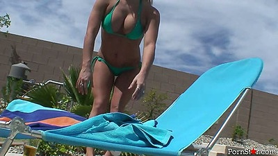 Bikini blonde having a nice tan outdoors solo Christa Moore