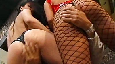 Fishnet fingering and ass licking whores Katja Kassin