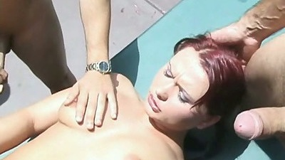 Oh yea Katja Kassin is filled with dicks in gang bang outdoors in private villa