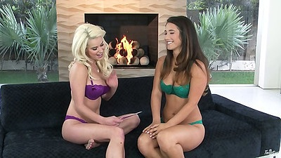 Bras and panties Eva Lovia and Spencer Scott interview looking hot