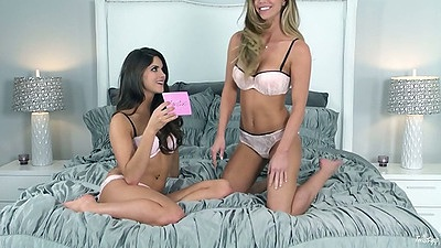 Lesbian interview with Niki Skyler and Aspen Rae in bras and panties