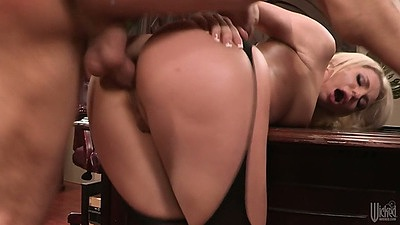 Doggy style anal from behind fuck with blond leaned over a table Bailey Blue