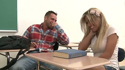 College blonde Aubrey Addams stripping on classroom  desk with student