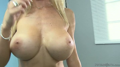 Big tits deep throating milf Evita Pozzi takes a long and large cock in her mouth