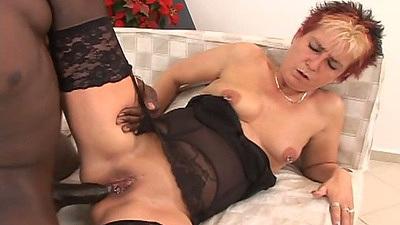 Black cock fucking mature white granny slut Jana B wearing stockings