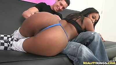 Juicy ass ebony Lola wearing pants with hole on pussy