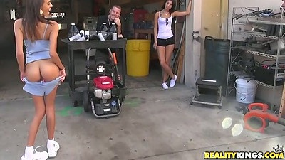 Group of chicks in garage having some fun