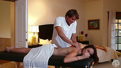 Massage with petite milf Amber Rayne then she reaches in to suck dick
