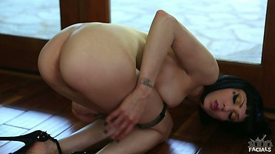 Asphyxia Noir on the floor with panties down to her knees